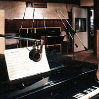 Studio A with piano and microphones used by Motown recording artists