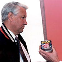 Hormel president presents SPAM to Yeltsin, 1992