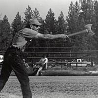 Logger competes in the Ax Throw, July 1999