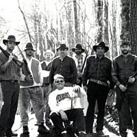Producer-director-writer Van Coleman with sheriff's cronies on location, March 1999