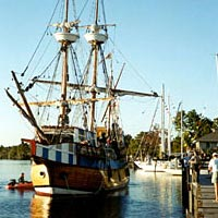 Elizabeth II, replica of 1585 vessel, docked at Scuppernong River Festival, October 1998