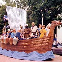 Viking ship replica float in 1999 parade