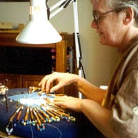 Paula Case lacing at a Flemish and Milanese Tape Lace workshop, April 1997
