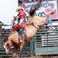 Wayne Herman bareback riding at Roughrider Days