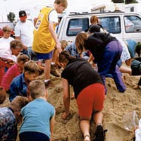 Kids' Coin Scramble in the sand, 1999