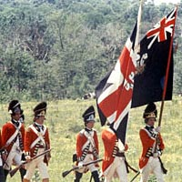 British troop re-enactors at Monmouth Battlefield, 1978