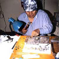Jewelry making demonstration by Lorenzo Coriz, Santo Domingo Pueblo, 1997