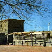 Reconstruction of bastion and walls at the Old Las Vegas Mormon Fort State Historic Park