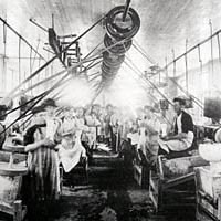 Glass cutting shop, Corning, ca. 1890