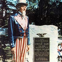 "Edward Wachter portrays ""Uncle Sam"" at a memorial to Samuel Wilson"