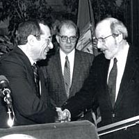 Gov. Mario Cuomo, William Kennedy, and E.L. Doctorow at the New York State Author/Poet Award Ceremony, 1989
