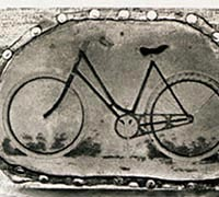 Woodcut of a bicycle that Wright Bros. used to advertise their bicycle shop