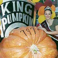 Pumpkin Festival Queen with largest pumpkin (797 lbs.), 1999