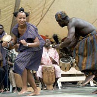 Dancers perform Bawa dance onstage, August 21, 1998