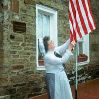 Flag-raising at Stone House Museum, 1996