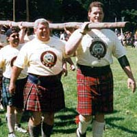 """Heavy"" athletes prepare to compete in caber toss"