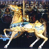 Horse with blue trim, Looff Carousel