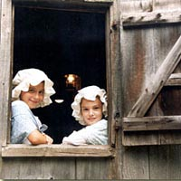 Two junior docents at the Hammond Grist Mill