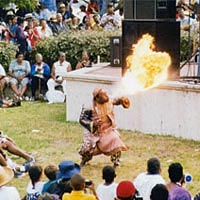African fire blower performs at Gullah Festival