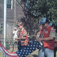 Boy Scouts raise flag at Bells Across America ceremony, 1995