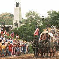 Re-enactment of Mormon pioneers arriving in Salt Lake City, 1997