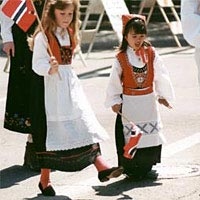 Girls dressed in Norwegian garb in 1997 parade