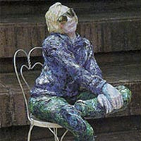 Sculpture of sitting woman from sidewalk art show