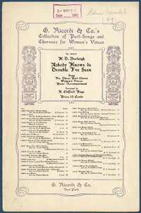 Nobody knows de trouble I've seen: song for three-part chorus women's voices, piano accompaniment. [vocal score]