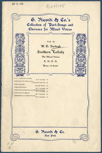 Southern lullaby: for mixed voices S.A.T.B. [vocal score]