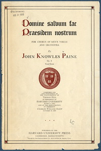 Domine salvum fac praesidem nostrum for chorus of men's voices and orchestra : op. 8. [vocal score]