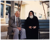 [Ragheb Moftah and Father Kyrillos, elderly monk at Anba Macarius Monastery in Wadi al-Natrun], April 29, 1995 [photograph]