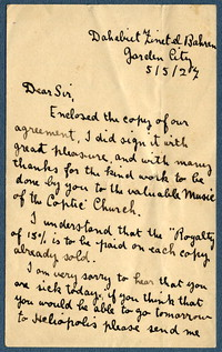 Letter from Ragheb Moftah to Ernest Newlandsmith, May 5, 1927 [correspondence]