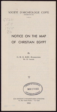 Notice on the Map of Christian Egypt [brochure]
