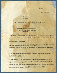 Contract between Ragheb Moftah and Ernest Newlandsmith, May 5, 1927 [correspondence]
