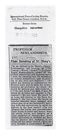 Professor Newlandsmith: Plain Speaking at St. Mary's [clipping]