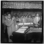 [Portrait of Dizzy Gillespie, John Lewis, Cecil Payne, Miles Davis, and Ray Brown, Downbeat, New York, N.Y., between 1946 and 1948] [graphic]