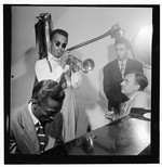 [Portrait of Howard McGhee, Brick Fleagle, and Miles Davis, New York, N.Y., ca. Sept. 1947] [graphic]