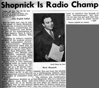 Shopnick is Radio Champ [clipping]