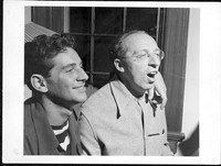 Bernstein with composer, mentor and friend, Aaron Copland at Bernardsville, NJ. August 1945. Photographer unidentified. (Music Division) [Photographs]