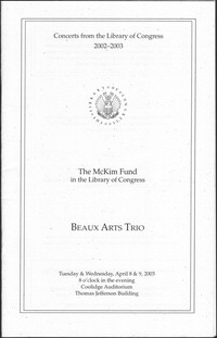 Beaux Arts Trio [concert program]