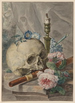 [Still life with skull, candlestick, flute, and flowers] [artwork]
