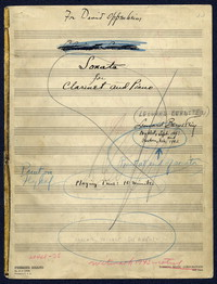 Sonata for clarinet and piano [manuscript score]