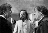 [Roger Reynolds, Brian Ferneyhough, and John Cage in Warren Studio A, UCSD] [photograph]