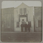 Adrian Whittaker, Herbert Clarke (cornet soloist) and Simone Mantia in front of Chinese Masonic Hall [photograph]