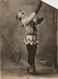 Photograph of Nijinsky in the title role of the ballet Petrouchka, 1911.