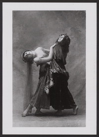 Photograph of Vera Fokina and Bronislava Nijinska in Narcisse, 1911, no photographer.