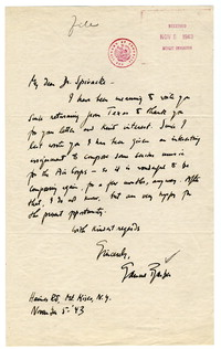 [Letter from Samuel Barber to Harold Spivacke, November 5, 1943] [correspondence]