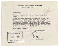 [Letter from Samuel Barber to Harold Spivacke, November 10, 1960] [correspondence]