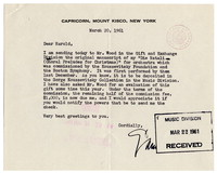 [Letter from Samuel Barber to Harold Spivacke, March 20, 1961] [correspondence]
