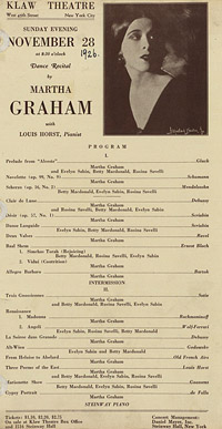 [Martha Graham, Klaw Theatre, November 28, 1926] [concert program]